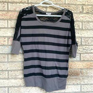 Ardene black grey striped blouse with lace inset L